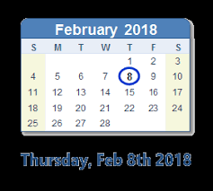 February 8th Sales Calendar